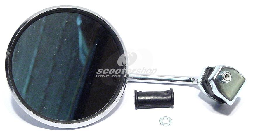 Round chrome mirror for legshield