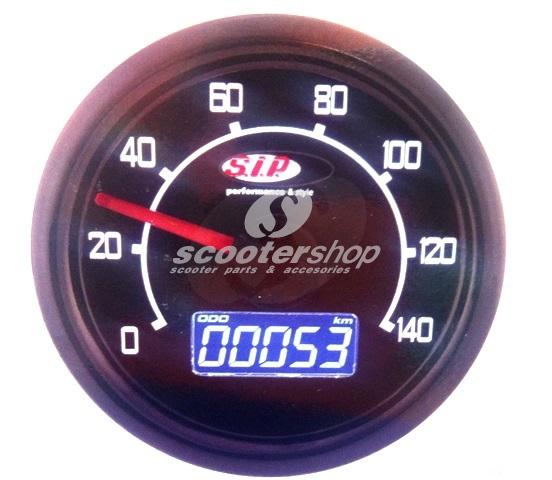 Rev Counter and Speedometer SIP 2.0 for Vespa 50 N/L/R/S/90 round, Ø 48 mm, - 140 (km/h /mph) / 14.000 (Umin/rpm), digital/analouge, 19 features