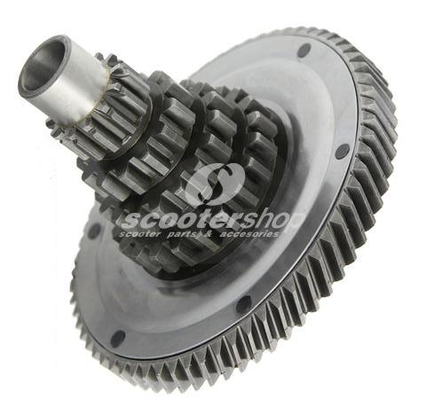 Countershaft 12-13-17-21 teeth, with primary gear 65 teeth for Vespa 200 Rally ,P200E , PX200 ,`98, bearing seat inside 42mm