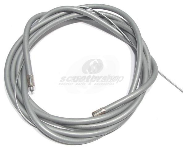 Throttle cable for Vespa PX,PE,T5 with barrel nipple, sleeve and solder, grey, with length of cable 1680 mm, d cable 1,25mm, d sleeve 5,0 mm, steel,  length of sleeve=1560 mm.