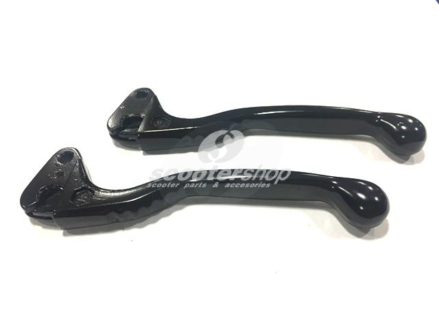 Sport Levers (pair) black for Vespa PE,PX,Rally,Sprint,Vespa 50, ET3,VBB,Gs160,Ss 180,GL. For models without disc brake!!