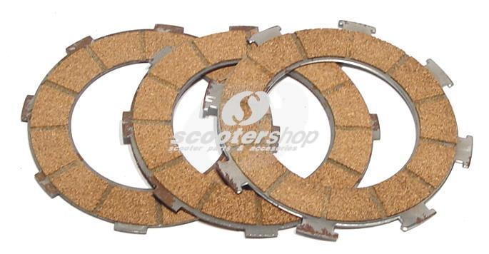 Clutch Friction Plates for Vespa VNB, GT, GTR, TS, Super, 150 VBA, VBB, VGLA-B, GL, Sprint V , Super, PX80-150,PE before `94  Ø 96 mm, 3 plates,  cork, th 2x3,1mm, 1x1,9mm