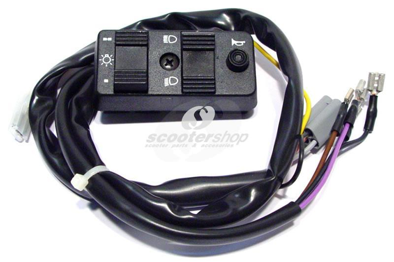 Light Switch for Vespa PX 80 -125 E, PX150E, PX200E, 7 wires, 1 multi plug with 5 pins , for models without batterie and with speedommeter with fuel cauge.