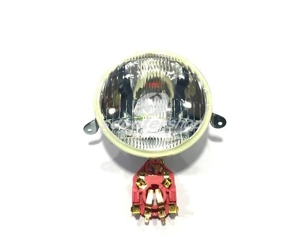 Headlight (glass, not plastic) for Vespa PX (with bulb holder BA20D - 12(6)-35/35 or 25/25 and BA15S 12 (6)/ 5 W) without lamps.