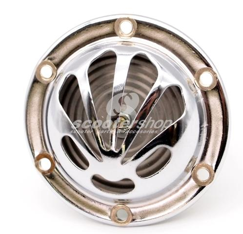 Horn ''shell'' shape for 6-12 Volt and AC, Ø 72 mm diameter and 4 holes for the fixation. Ideal for Vespa models w/o battery such as Sprint, Rally, V50.