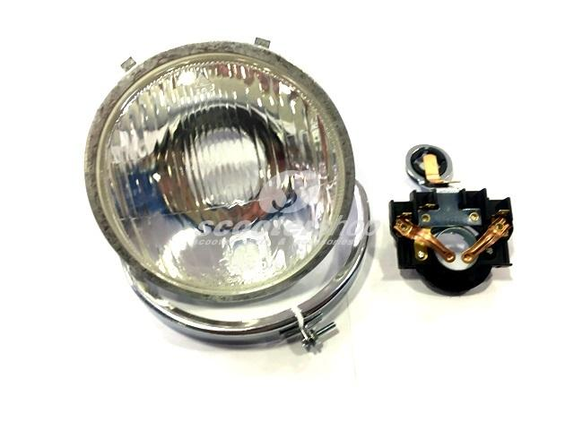 Headlight complete, glass, 115mm, with chrome rim and bulbholder for Vespa Super 125-150- Primavera, ET3.