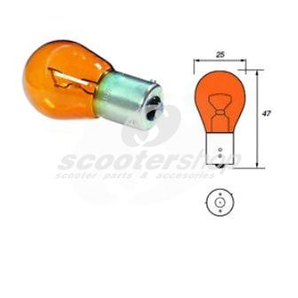 Bulb indicator, 12V/21W, Bau15s, yellow, for Vespa PX after 1996, T5.