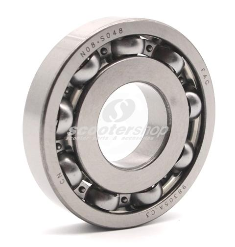 Bearing Crankshaft clutch side FAG with 9 balls for Vespa PE-Cosa-125-150-200. Dimensions 25x62x12 mm.
