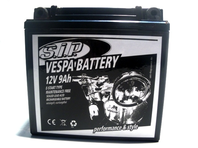 Battery SIP 12V/9Ah Vespa PX/Lusso/T5/Cosa E-Start PIAGGIO 125/150ccm 2T/4T AC/LC sealed, maintenance-free 135x75x139mm