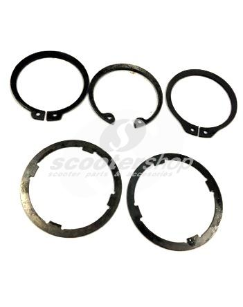 Gearbox shims and circlips set for Vespa 50s, PK 50-125, Vespa Px after 1985, Cosa, T5