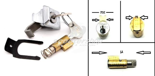 Cylinder locks set for steering and glove box for Vespa Px, Pe, ET3, V50. Further informations in the description. The upper collar must be measured in 6mm.