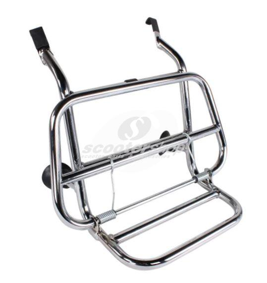 LuggLuggage carrier  front, type USA for Vespa VBB,Sprint, TS, GT, GTR, Rally, PX, T5 , PK, 50S chrome, load area 45x25 cm, fold-away, distance to frame 6 cm