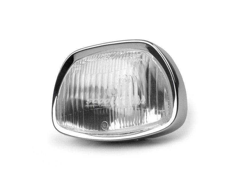 Headlamp Unit SIEM for Vespa 125 GT,150 GL, Sprint, 180 SS, trapezoidal,  95x150 mm, glass, without bulbs, including chromed rim