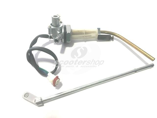 Fuel Tap SIP Fast Flow for Vespa PK 50-125, TS, SS 180, Rally, PX, T5 with lever (length 200mm), electronic power reserve gauge.