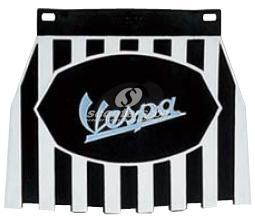 Mud flap with black and white stripes with VESPA logo