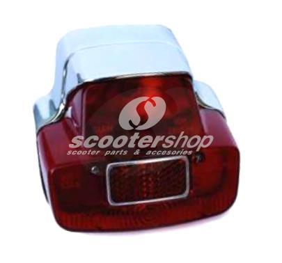 Rear Light SIEM, for Vespa 125 VNB6, 150 GL, Sprint > 025479, 180SS > 0018001, metal casing chrome, without bulbs.