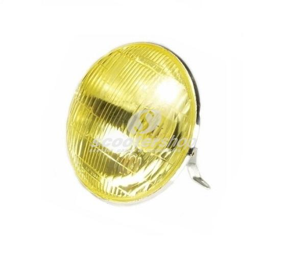 Headlight yellow for Vespa PX ( with bulb holder BA20D - 12(6)-35/35 or 25/25 and BA15S 12 (6)/ 5 W) without lamps.