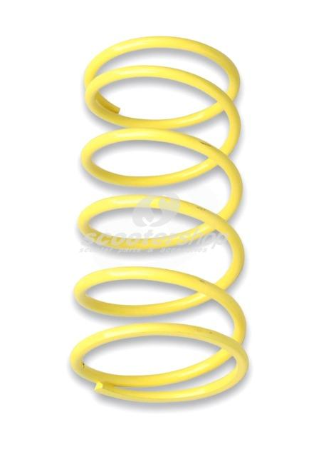 Yellow variator adjuster spring Malossi for 125-200cc scooter. Dimensions: Ø 58x128mm, Thread: Ø 4,3mm, Stiffness: 5,5k.