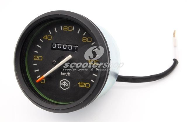 Black speedometer with black ring for Vespa P80-150X, 200E, P150S, P200E. Diameter Ø 85 mm and yellow numbers up to 120km/h.