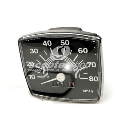 Speedometer for Vespa 50, 84 x 73 mm Special 80 km/h
