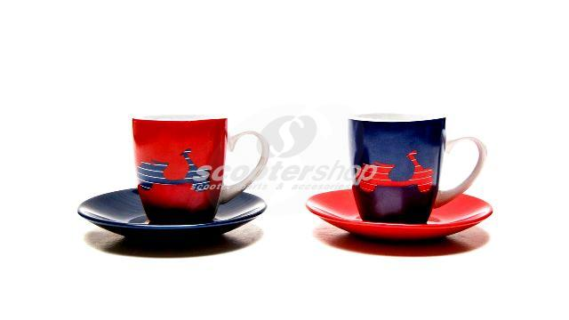 Espresso Cup Set FORME Vespa, red and blue, ceramic, 2 pieces, with gift box