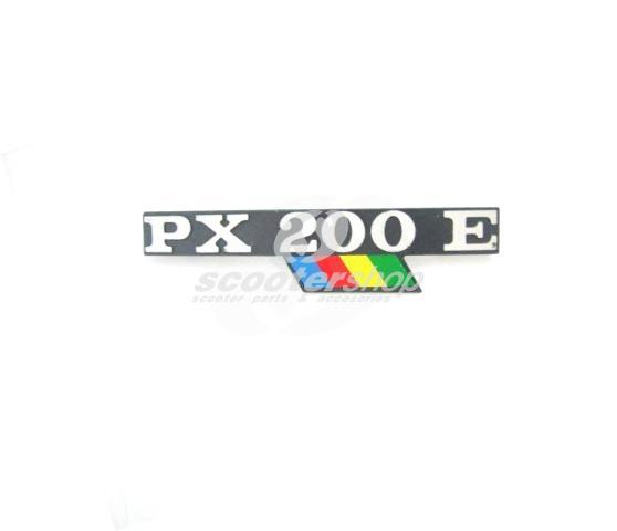 "Badge ""PX200E"" for side panel, for Vespa PX200 Arcobaleno model 1984 - 1997"