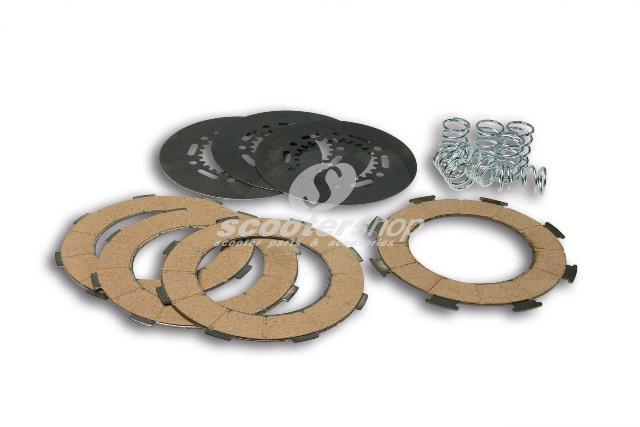 Clutch plates set (7springs with 4 disc plate) Malossi for Vespa PX200-COSA1 <1997