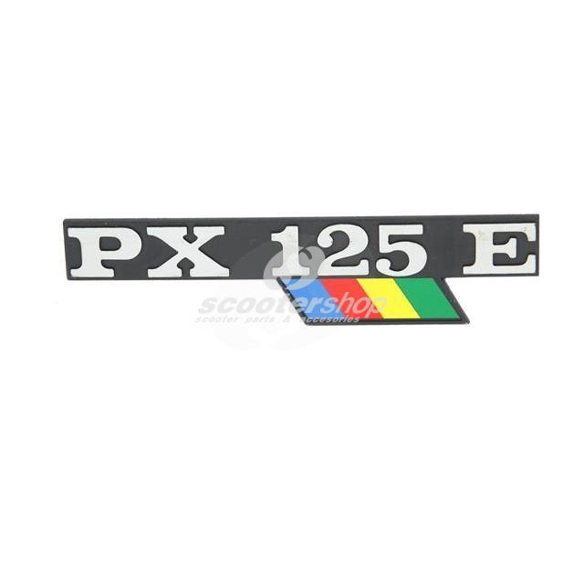 "Badge ""PX125E"" for side panel, for Vespa PX 125 Arcobaleno model 1983 - 1997"