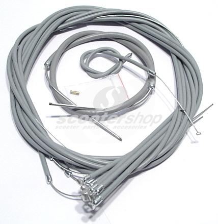Cable set complete grey for Lambretta I - II - III series