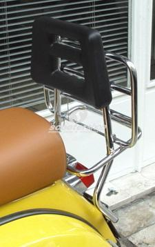 Rear luggage carrier with back rest for Vespa PE-PX. Chrome