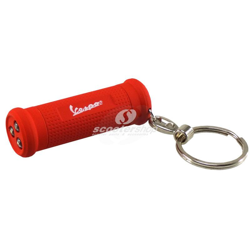 Key chain Vespa Grip , with led torch light , 55x20 mm , red . Perfect gift !!!