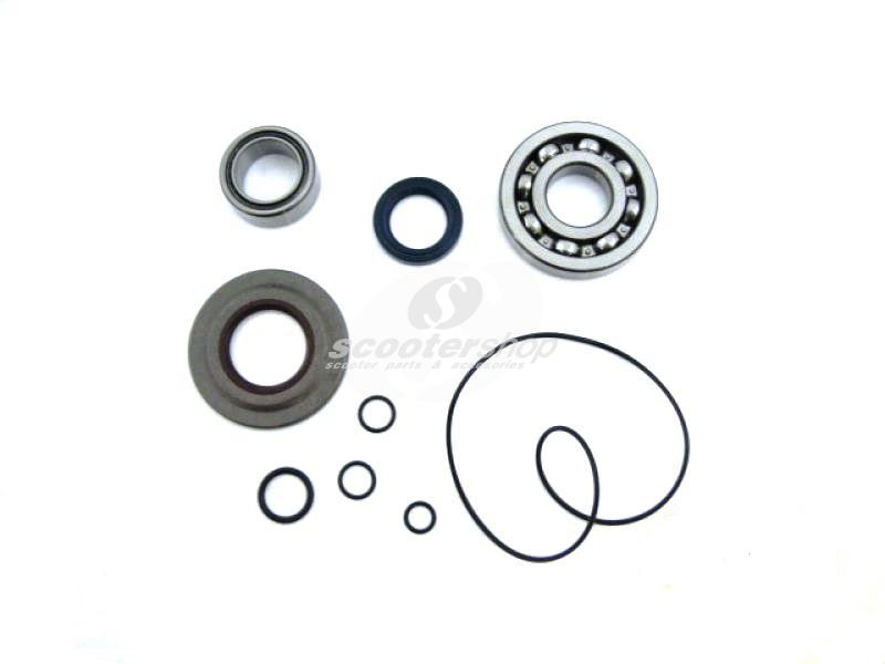 Bearing Set crankshaft flywheel/clutch for Vespa 125 GTR 2°/TS 2°/200 Rally 2°/PX80-200/PE/Lusso /Cosa, blue/brown incl. metall-oil seal