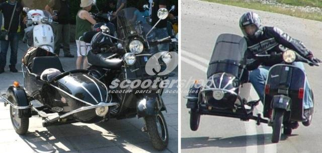 Side-car black for Vespa with 10' wheel