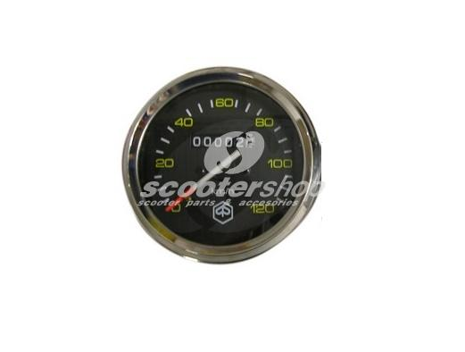 Speedometer for Vespa P80-150X, 200E, P150S, P200E Ø 85 mm, -120km/h, face: black, yellow numbers, ring: chrome, emblem: PIAGGIO hexagon