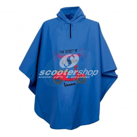 "Rain Poncho Vespa ""The Secret of Happiness is Freedom"", blue,unisex, one size,100% polyamide. Perfect gift !!!"